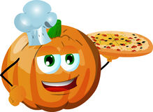 Chef pumpkin showing a delicious pizza Royalty Free Stock Images