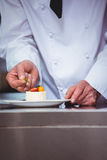 Chef putting finishing touch on dessert Stock Image