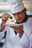 Chef putting finishing touch on dessert. In commercial kitchen Royalty Free Stock Photo