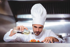 Chef putting finishing touch on salad. In commercial kitchen Royalty Free Stock Photo