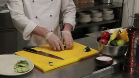 Chef putting sliced cucumber into the plate, medium shot. Chef in restaurant putting sliced cucumber into the plate, medium shot stock video footage