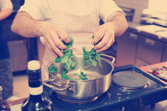 Chef is putting spinach in casserole, toned Royalty Free Stock Photos