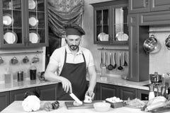Chef qualifié concentré coupant le poivre frais dans deux morceaux photo stock