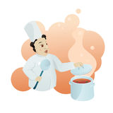 Chef ready to try a delicious dish. Vector illustration of a chef cooking a dish in a restaurant. He is ready to try it. Scene is tasty and you can almost smell Stock Photography