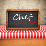 Chef Recommended Title on Restaurant Slate Chalkboard Stock Photo