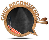 Chef Recommends - Blackboard Speech Bubble Shaped Stock Image