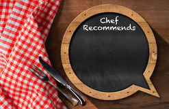Chef Recommends - Blackboard Speech Bubble Shaped Stock Photo