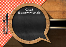 Chef Recommends - Blackboard Speech Bubble Shaped Royalty Free Stock Images