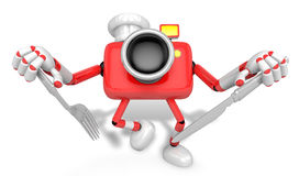 Chef Red Camera Character right hand, Fork in the left hand hold Stock Photography