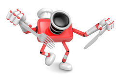 Chef Red Camera Character right hand, Fork in the left hand hold Royalty Free Stock Photos