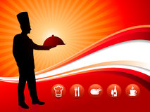Chef on red dinner background Stock Photography