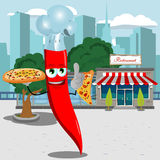 Chef red hot chili pepper holding pizza with attitude in front of a restaurant Royalty Free Stock Photos