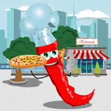 Chef red hot chili pepper holding pizza with attitude in front of a restaurant Stock Photography