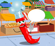 Chef red hot chili pepper with pizza gesturing the peace sign on the market with speech bubble Royalty Free Stock Photo