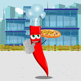 Chef red hot chili pepper with pizza holding a stop sign in the city Royalty Free Stock Image