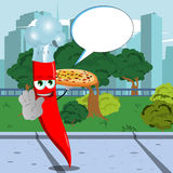 Chef red hot chili pepper with pizza holding a stop sign in the city park with speech bubble Royalty Free Stock Images