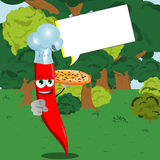 Chef red hot chili pepper with pizza pointing at viewer in the forest with speech bubble Royalty Free Stock Photos