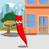 Chef red hot chili pepper with pizza showing thumb up in the city Royalty Free Stock Image