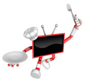 Chef Red TV Character Chef in both hands to hold a fork and plat Stock Image