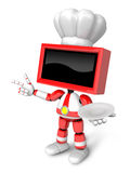 Chef Red TV Character the right hand guides and the left hand is Royalty Free Stock Photo