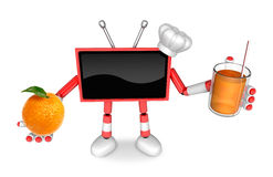 Chef Red TV Character right hand, Orange in the left hand holdin Royalty Free Stock Images