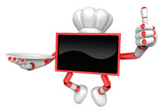 Chef Red TV Mascot the right hand best gesture and the right han Royalty Free Stock Photos