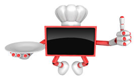 Chef Red TV Mascot the right hand best gesture and the right han Royalty Free Stock Images