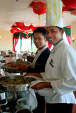 Chef and Restaurant Captain. Photograph of Chef and Restaurant Captain stock images