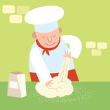 Chef restaurant kitchen kneads dough. Cook Royalty Free Stock Photos