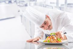 Chef in restaurant kitchen prepares and decorates meal with hands. Cook preparing spaghetti bolognese.  royalty free stock photo