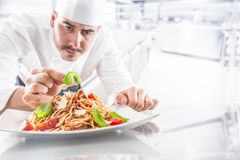Chef in restaurant kitchen prepares and decorates meal with hands.Cook preparing spaghetti bolognese stock photography