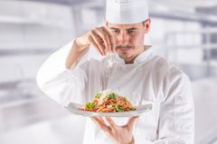 Chef in restaurant kitchen prepares and decorates meal with hands.Cook preparing spaghetti bolognese royalty free stock photo