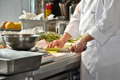 Chef in a restaurant kitchen Royalty Free Stock Photography