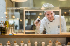 Chef in the restaurant Stock Image