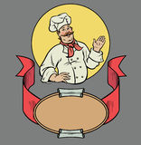 Chef in retro style. Chef presenting something in a circle frame emblem royalty free illustration