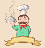 Chef with a ribbon. Retro colors stock illustration
