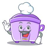 Chef rice cooker character cartoon Royalty Free Stock Photos