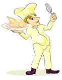 Chef with roast chick. Illustration of chef with roast chick Royalty Free Stock Photography