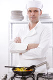 Chef roasting vegetables Royalty Free Stock Photo