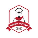 Chef with roll pin fresh dough logo. Logo design vector illustration Royalty Free Stock Photography