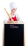 Chef with rolling pin show menu Stock Photo