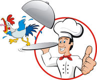 Chef rooster. Illustration of a rooster and a chef. Isolated Royalty Free Stock Images