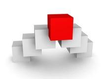 Chef rouge différent de cube sur le fond blanc Photographie stock libre de droits