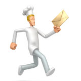 Chef runs with a letter Royalty Free Stock Photos