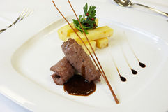 Chef's art. A well decorated dish for a la carte restaurants stock photo