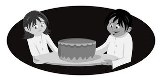 Chef's cake grayscale Royalty Free Stock Images
