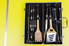 Chef`s case full of tools stock photos