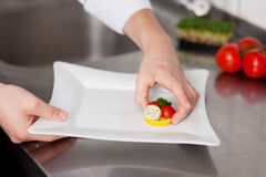 Chef's Hand Garnishing Plate In Kitchen Counter Stock Photo