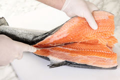 Chef's hands cutting a fresh salmon. On a cutting board Stock Photography