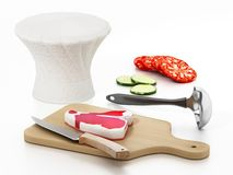 Chef`s hat, cutting board, knives and vegetable slices. 3D illustration.  stock illustration